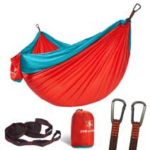 pys Double Portable Camping Hammock with Straps Outdoor -Nylon Parachute Hammock with Tree Straps Set with Max 1200 lbs Breaking Capacity, for Backpacking, Hiking, Travel (Red+Lake Green)