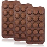 3 Pcs Four Leaf Clover Chocolate Candy Molds, FineGood 15-Cavity Silicone Reusable Non-stick Pans, Handmade Jelly Ice Cube Fondant Dessert Making, Kitchen Baking Decoration