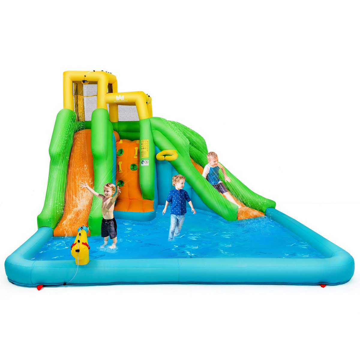 BOUNTECH Inflatable Bounce House, Mighty Water Pool with Two Slides, Climbing Wall, Basketball Rim, Splash Pool, Water Cannon, Including Carry Bag, Repairing Kit, Stakes, Hose (Without Blower)