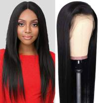 Aushow Straight Lace Front Wigs for Black Women 13x4 Brazilian Straight Human Hair Wig with Baby Hair 150% Density Real Virgin Hair Natural Color (16 Inches)