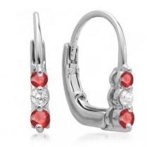 Dazzlingrock Collection 10K Ladies 3 Stone Hoop Earrings, White Gold
