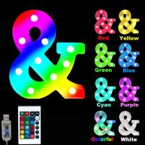 16 Color Changing Marquee Letter Light,Light Up Colorful 26 Alphabet Signs – Home Decor Name Signs – Battery Operated LED Remote Timer – Lighted Vintage Accessories & Decorations-&