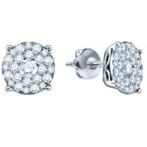 Dazzlingrock Collection 0.50 Carat (ctw) 18K Gold Round Cut Diamond Round Shape Cluster Earrings Look of 1 CT each