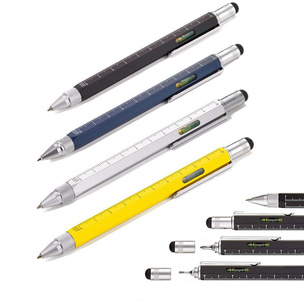 Shulaner 6 in 1 Multifunction Tech Tools 0.7mm Black Ink Ballpoint Pen with Ruler Level Stylus and Two-head Screwdriver Gift for Men 4 Pack