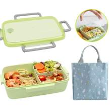 Ozazuco Bento Box Japanese Lunch Box,3-In-1 Compartment, Fiber of Bamboo, Leak-proof and Eco-Friendly Bento Lunch Box Meal Prep Containers for Kids (Green)