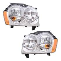Headlights Headlamps Driver and Passenger Replacements for 05-07 Jeep Grand Cherokee SUV 55156351AK 55156350AK