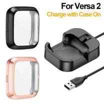NANW Screen Protector Plus Charger Compatible with Fitbit Versa 2 Smartwatch (Not for Versa), (Can Charge with Versa 2 Bumper Case On), [2+1 Pack] Soft TPU Plated Bumper Screen Case with Charger Dock Station