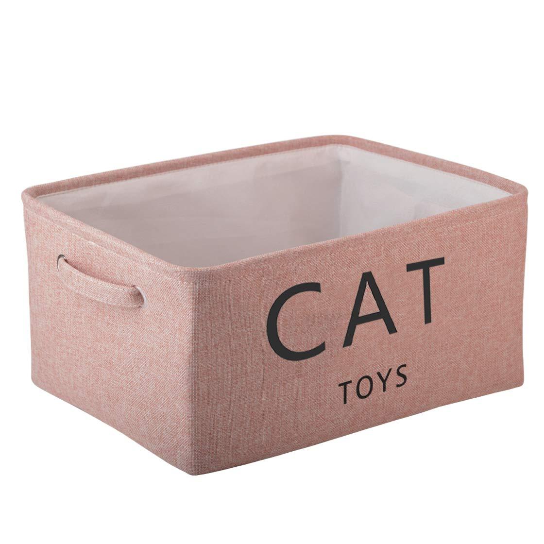 Morezi Canvas Storage Basket Bin Chest Organizer - Perfect for Organizing Toy Storage, Baby Toys, Kids Toys, Dog Toys, Baby Clothing, Children Books, Gift Baskets - Cat Toy - Pink