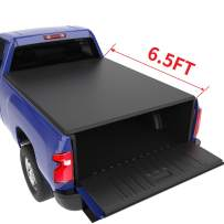 oEdRo Soft Roll Up Truck Bed Tonneau Cover Compatible with 2019-2020 Chevy Silverado/GMC Sierra 1500 New Body Style, Fleetside 6.5 Feet Bed