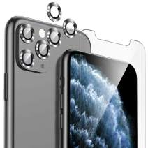 [3 Pack] Camera Lens Protector for iPhone 11 Pro Max + [1 Pack] Tempered Glass, Aeska [Anti-Scratch] [Dust-Proof] Full Coverage Ring 360 Degrees Protection Back Camera Lens Screen Case Friendly-Silver