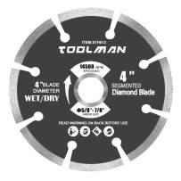 "Toolman Circular Saw Blade Universal Fit 4"" Segmented Wet or Dry Cut Diamond for Masonry Concrete BLUE01"