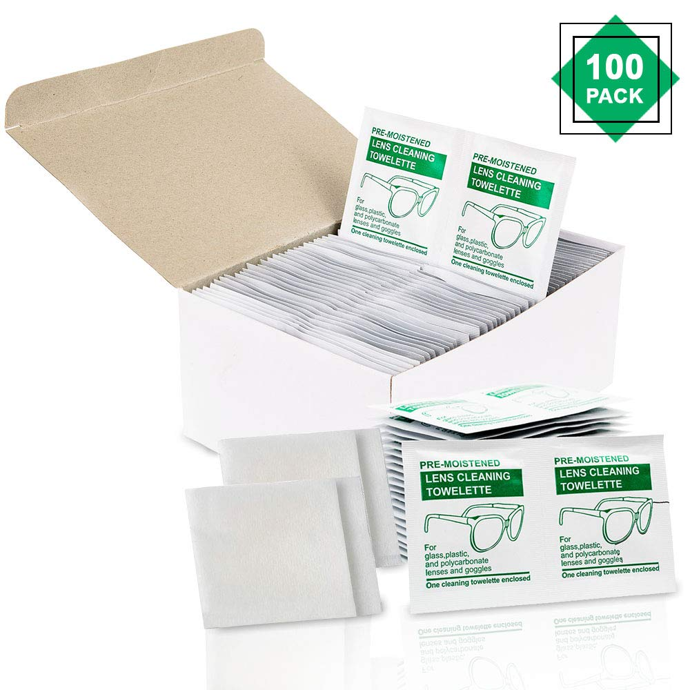 Lens Wipes for Eyeglasses (Set of 100) by Cleanix - Glasses Cleaner Wipes I for Effective Lense and Screen Cleaning Wipes I Also for Camera Lens, Tablets, Sunglasses and Other Devices