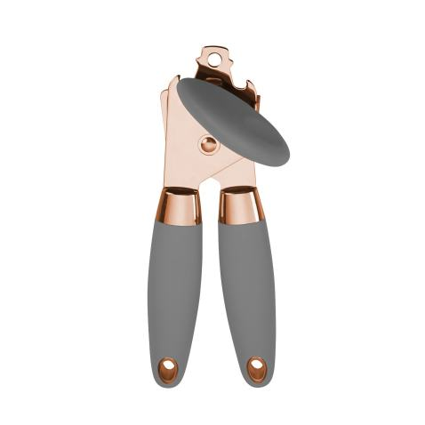 COOK with COLOR Deluxe Manual Rose Gold Quality Stainless Steel Can Opener With Durable Grey Anti Slip Handles and Large Knob with Built In Bottle Cap Opener