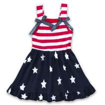 CM C&M WODRO Toddler Baby Girls Summer Outfit Stars and Stripes Bow-Knot Dress Independent's Day Suits