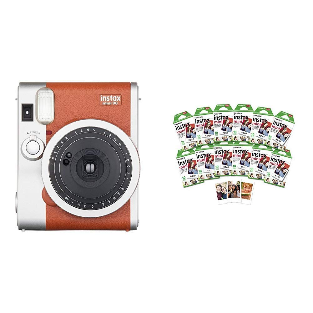 Fujifilm Instax Mini 90 Instant Film Camera Brown w/ 120 Count Mini Film Pack