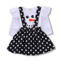 Christmas Infant Toddler Baby Girls Outfits Snowman Santa Claus Print Ruffle T-Shirt Strap Dress Sets