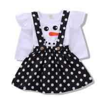 Christmas Infant Toddler Baby Girls Outfits Snowman Santa Claus Print Ruffle T-Shirt Strap Dress Sets