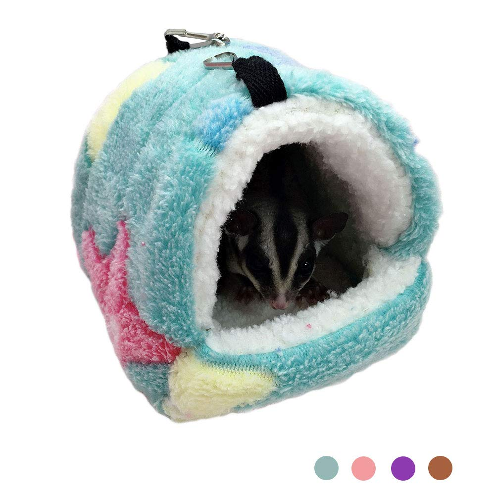 Oncpcare Winter Warm Hamster Bed, Hanging Sugar Glider Hammock Nest Home, Small Animal Cage Accessories Bedding for Guinea Pig Chinchilla Ferret Squirrel Rat Playing Sleeping
