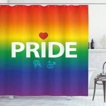 """Ambesonne Pride Shower Curtain, Abstract Vibrant Gay Rights Celebration Event with Gender and a Red Heart, Cloth Fabric Bathroom Decor Set with Hooks, 84"""" Long Extra, Orange Blue"""