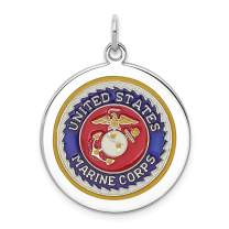 925 Sterling Silver Us Marine Corps Disc Necklace Pendant Charm Military Logoart Fine Mothers Day Jewelry For Women Gifts For Her