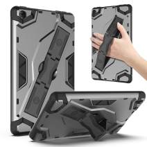 Amazon Fire 7 Case 9th Generation 2019 Released [Kickstand/Hand Strap] Durable Rugged Back Cover Anti-Slip Shockproof Armor Defender Protective Case for All-New Kindle Fire 7, Black