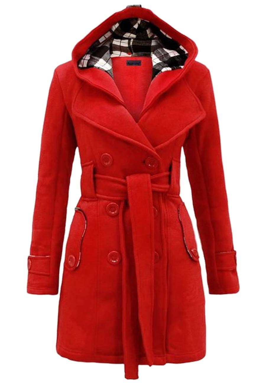 OMZIN Autumn Coat Ladies Fall Long Trench Coat Dress Double Breasted Casual Wear Red L