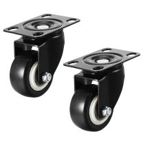 """uxcell Swivel Caster Wheels 2"""" Polyurethane with 360 Degree Top Plate 132LBS Capacity for Furniture Carts Workbench, Black, Pack of 2"""