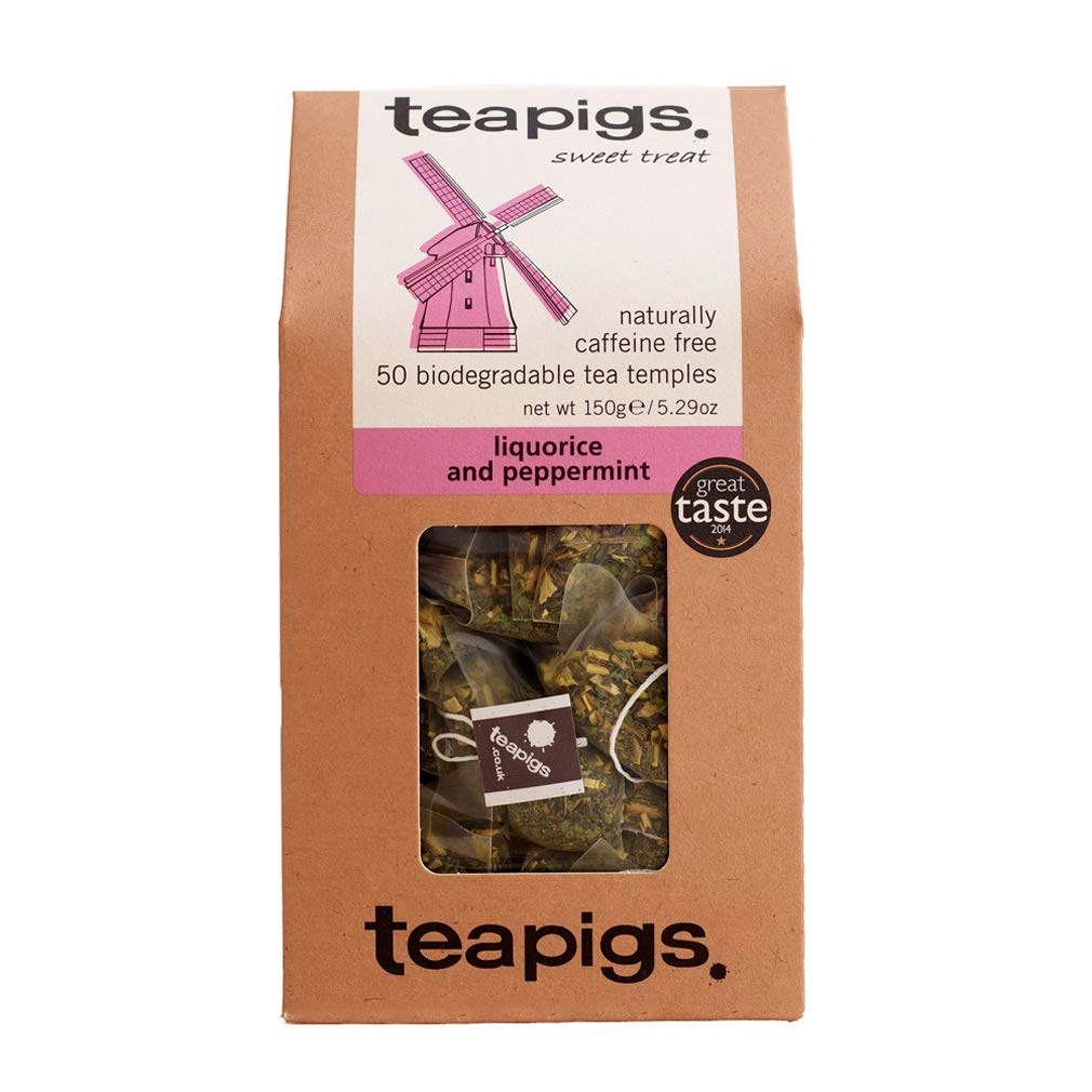 teapigs Liquorice and Peppermint Tea Bags Made With Whole Leaves, 50 Count, Sweet, liquorice, mint (5422)