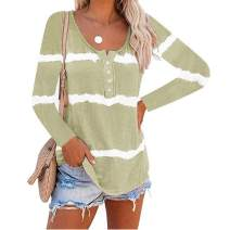 Women's Casual Tie Dye Printed Long Sleeve Scoop Neck Shirts Pullover Sweatershirt Tops