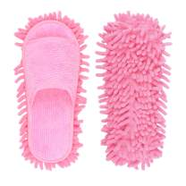 Microfiber Slippers Floor Cleaning Mop Men and Women House Dusting Slippers Floor Cleaning Tool (Pink)