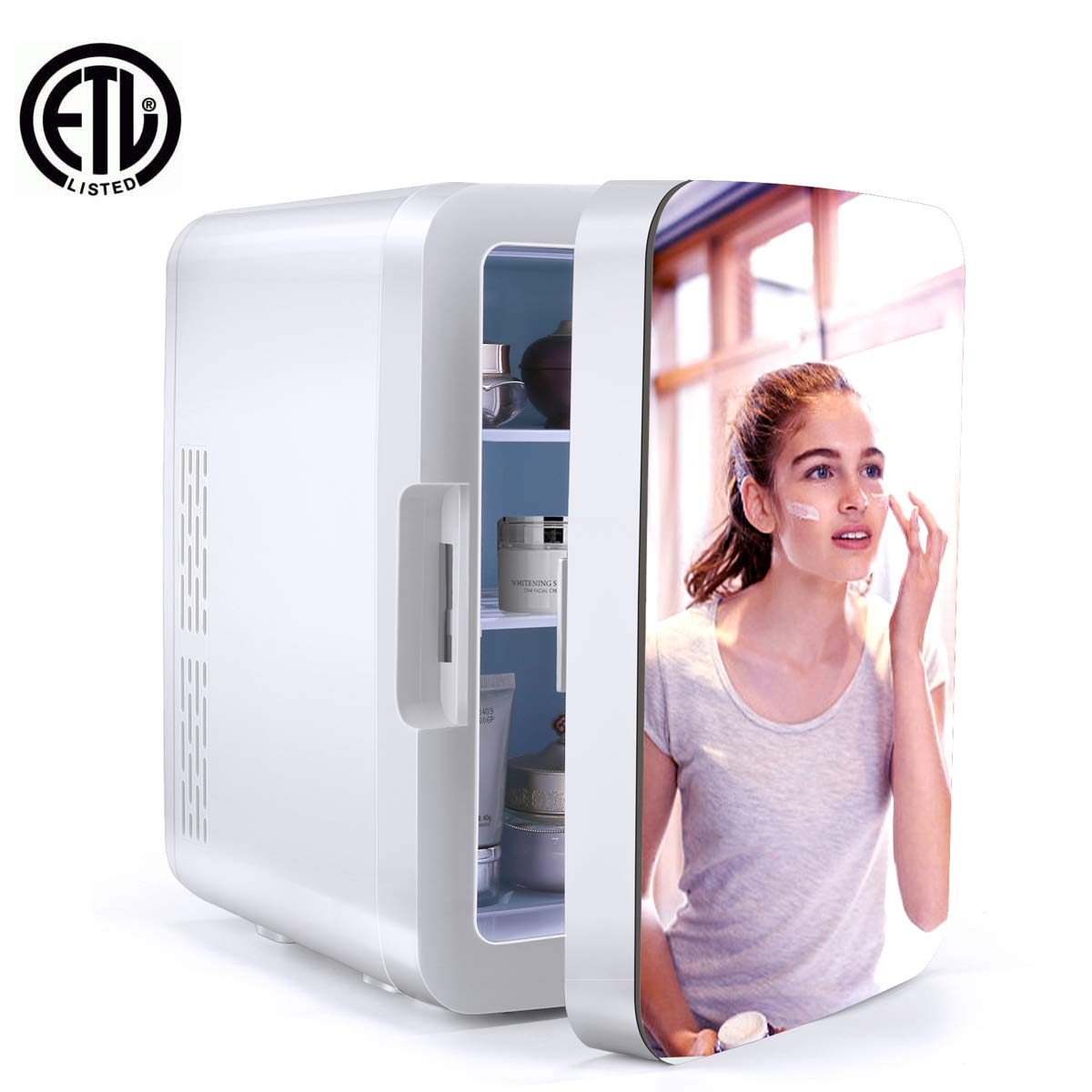 WERSEON Makeup Cosmetics Mirrored Door Mini Fridge Thermoelectric Cooler and Warmer AC/DC Powered System – Compact and Portable for Travel, Car, Skincare or Medical Use (White)