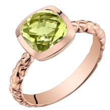 14k Rose Gold Peridot Cushion Cut Woven Solitaire Dome Ring (2.00 carat)