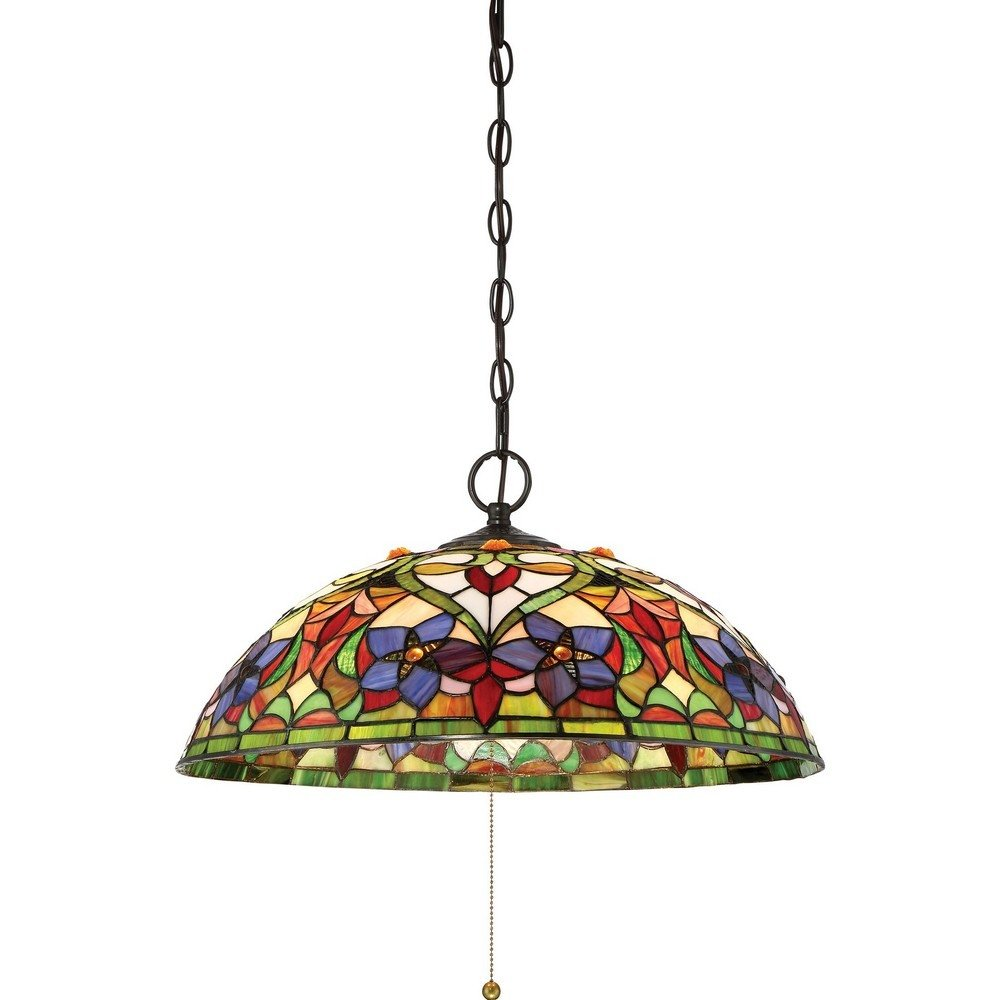 "Quoizel TFVT1820VB Violets Tiffany Bell Pendant Ceiling Lighting, 3-Light, 300 Watts, Vintage Bronze (10""H x 20""W)"