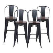 """HAOBO Home 24"""" High Back Barstools Metal Stool with Wooden Seat [Set of 4] Counter Height Bar Stools, Matte Black"""