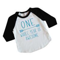 Boy First Birthday Shirt 1st Birthday Boy Outfit (Blue 6-12 Months)