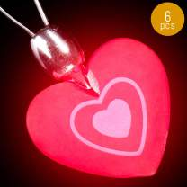 Lumistick Flashing Heart Necklace 14-inch | Valentine's Day Special Flashing Heart Shape Pendant | Ultra Bright Light Up Ball Party Fluorescent Locket | Luminous Dazzling Necklet (6 Necklaces)