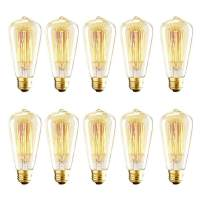 Vintage Edison Bulbs, 40W ST64 Dimmable Incandescent Light Bulbs, Squirrel Cage Filament Bulbs, 2700K Soft Warm White Light Bulb, 320 Lumens, Retro Light Bulbs, Amber Glass,E26 Medium Base,10 Pack