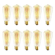Vintage Edison Bulbs, 40W ST64 Dimmable Incandescent Light Bulbs, Squirrel Cage Filament Bulbs, 2700K Soft Warm White Light Bulb, 320 Lumens, Retro Light Bulbs, Amber Glass,E26 Medium Base,10 Pack