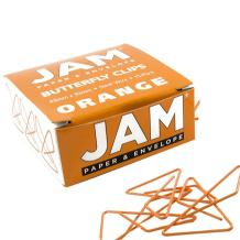 JAM PAPER Colorful Butterfly Clips - Orange Paper Clamps - 15/Pack