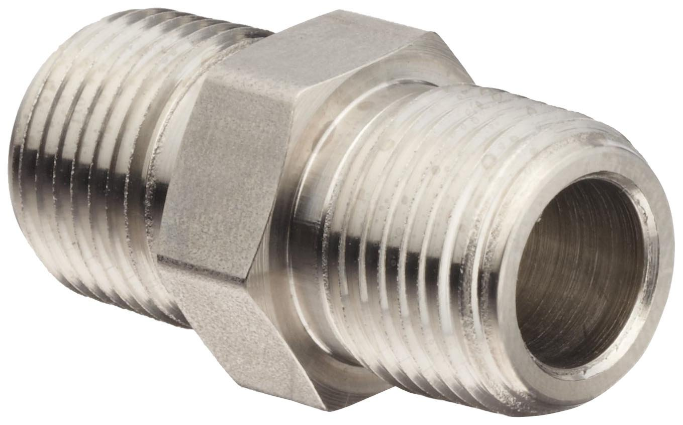 "Brennan 5404-06-04-SS Stainless Steel Pipe Fitting, Hex Nipple, 3/8"" X 1/4"" NPT Male"