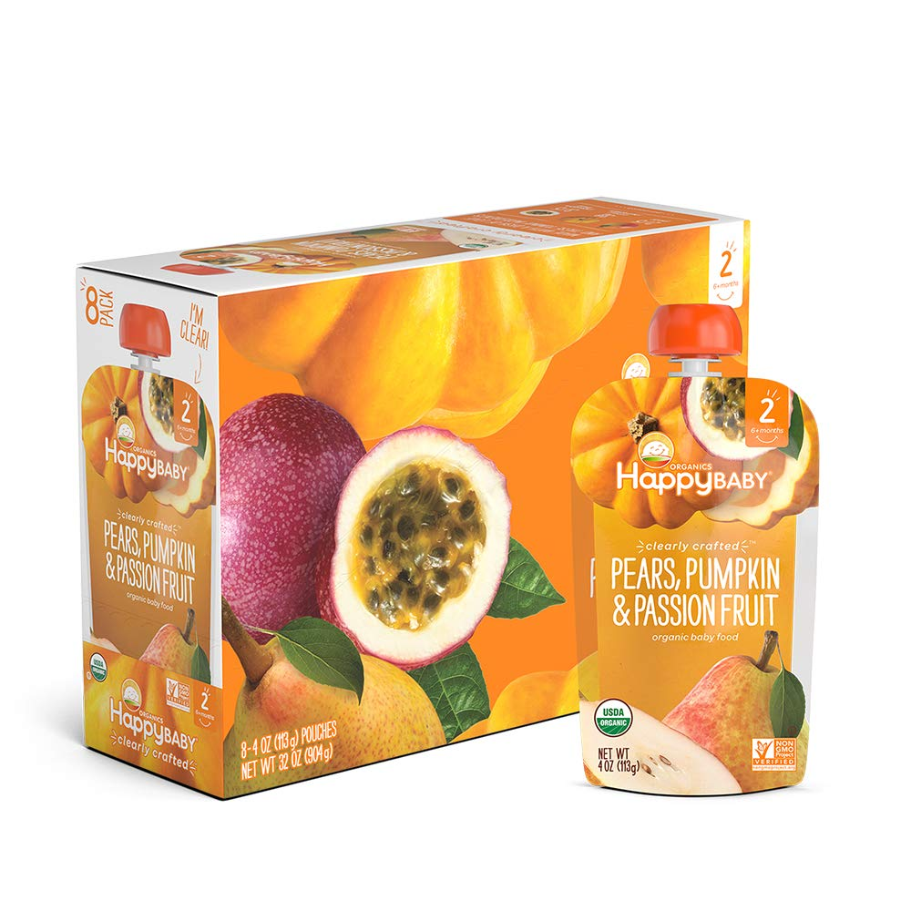 Happy Baby Organic Clearly Crafted Stage 2 Baby Food Pears, Pumpkin & Passion Fruit, 4 Ounce Pouch (Pack of 16)