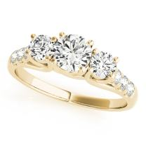 0.5 Ct. Halo Very Good Round Cut Classic Three-Stone Diamond Engagement Ring for Women| 14K Solid White Rose Yellow Gold | 1/2 ctw Genuine Diamond Wedding Jewelry Collection