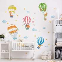 decalmile Animals in Hot Air Balloons Wall Decals Elephant Giraffe Monkey Wall Stickers Baby Nursery Kids Bedroom Playroom Wall Decor