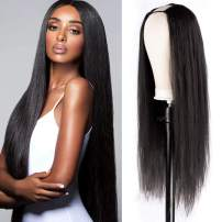 QLQUEENLIFE 14 Inch Silky Long Straight U Part Wig with Straps Combs Alternative to Lace wig 100% Remy Brazilian Natural Black Human Hair Wig Glueless Wig 150% Density Wigs for Black Woman