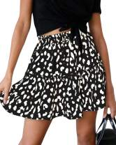 Womens Leopard Print Pleated Mini Skirts Casual Swing Elastic Waist Youth Skater Skirt