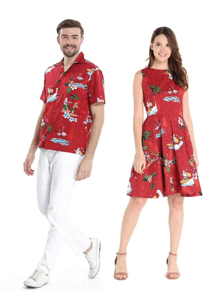 Couple Matching Hawaiian Luau Cruise Outfit Shirt Vintage Dress Christmas Santa in Hawaii Red