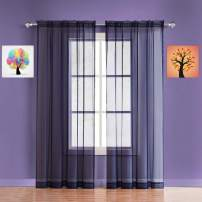 Warm Home Designs Pair of Long Length Royal Navy Blue Sheer Window Curtains. Each Voile Drape is 56 X 96 Inch in Size. Great for Kitchen, Living or Kids Room. 2 Fabric Panels Included. AM Navy 96""