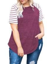 DOLNINE Women's Plus Size Tops Striped Raglan Tee Shirts Casual Tunics Blouses