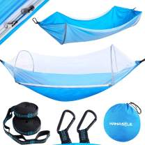 HAHASOLE Camping Hammock with Mosquito Net - Includes Tree Straps & Carabiners - Ripstop Nylon Lightweight & Portable Travel Bed Set with Bug Nets for Hiking Backpacking Beach, Easy Setup Outdoor Gear