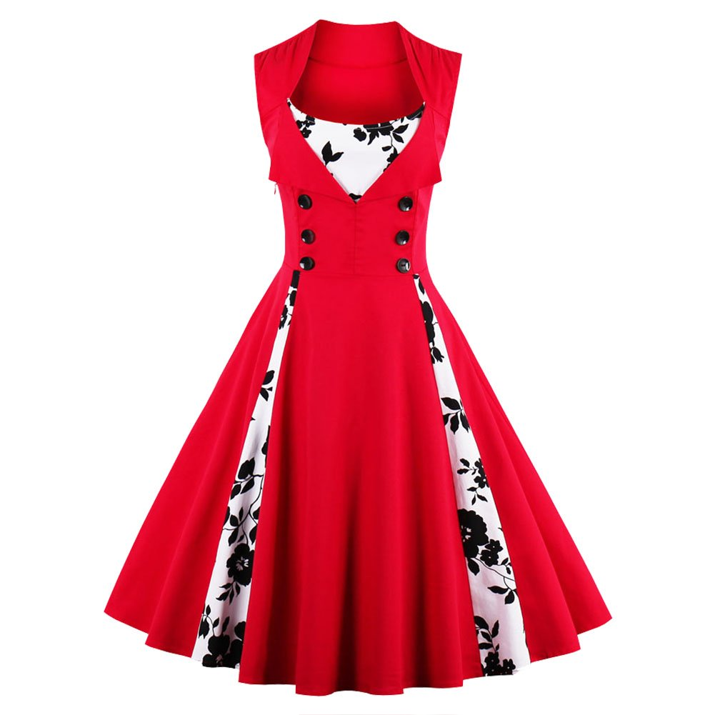 FTVOGUE Women Vintage Dress Sleeveless Button Front Rockabilly Floral Printed Pleated Swing Pinup Cocktail Dress, Red